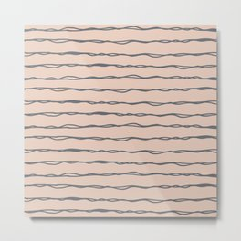Minimalist Stripes Navy Gray on Blush Pink Metal Print