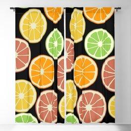 Citrus Fruit Slices, Oranges, Limes, Lemons Blackout Curtain
