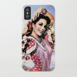 Jesus Helguera Painting of a Delightful Mexican Calendar Girl iPhone Case