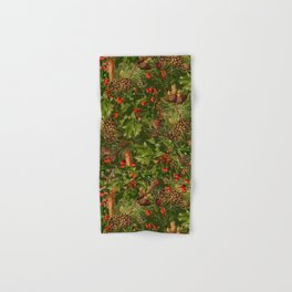 Traditional Holly Christmas Pattern Hand & Bath Towel