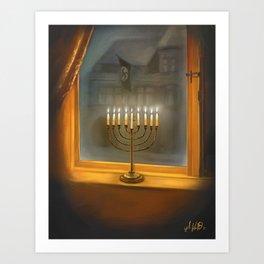 Menorah In The Darkness Art Print