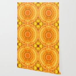 Orange Habanero Hot Peppers Mandala Fractal Design Wallpaper