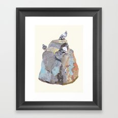 The Pigeon on a Rock Framed Art Print