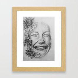 Sunflower Smiles Framed Art Print