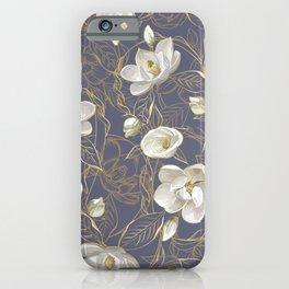 Southern Magnolias | Blue Gray Plum iPhone Case