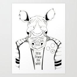 Punk Rock Rhino Art Print