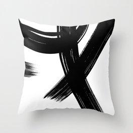 Black Abstract Brush Strokes nr 1 Throw Pillow