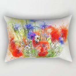Watercolor Spring Garden Rectangular Pillow