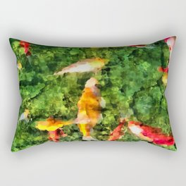 Koi In A Glassy Pool Rectangular Pillow