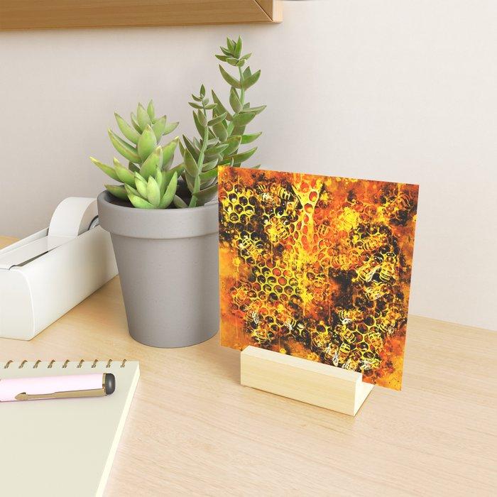 bees fill honeycombs in hive splatter watercolor Mini Art Print