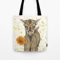 goat Tote Bags featuring Goat by Nikki Laxar