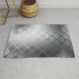 """Neutral gray Damask Pattern"" Rug"