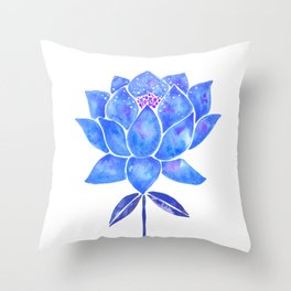 Sacred Lotus – Blue Blossom Throw Pillow