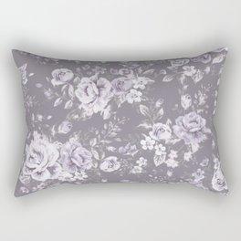 VINTAGE FLORAL MAUVE ROSES PATTERN DARK Rectangular Pillow