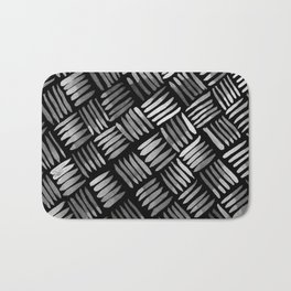 Hand Painted Classic Basketweave Pattern Silver and Black Bath Mat