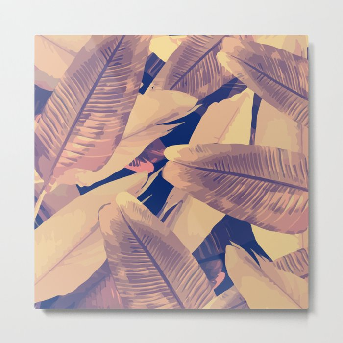 Banana Leaves Sepia Metal Print