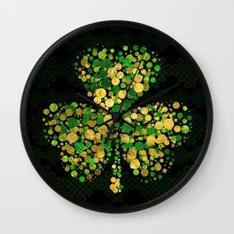Decorative Irish Shamrock -Clover Gold and Green Wall Clock