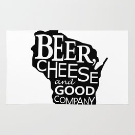 Black and White Beer, Cheese and Good Company Wisconsin Graphic Rug