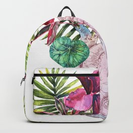 Human heart with flowers, plant and leaf, watercolor Backpack