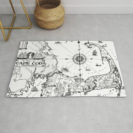 Vintage Map of Cape Cod BW Rug