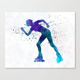 Woman in roller skates 06 in watercolor Canvas Print
