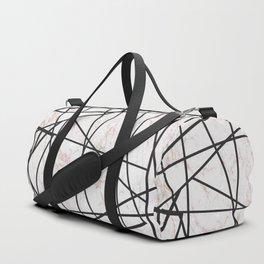 Geometrical black gold faux glitter white marble Duffle Bag