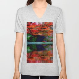 SURREAL RED POPPIES GREEN VASE REFLECTIONS Unisex V-Neck
