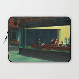 NIGHTHAWKS downtown diner late at night iconic cityscape oil on canvas painting by Edward Hopper Laptop Sleeve
