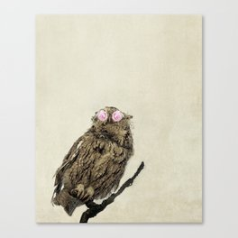 Owl with Pink Rose Eyes on Beige with Vintage Texture Canvas Print