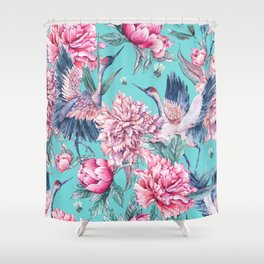 Teal peonies and birds Shower Curtain