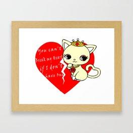 Cat Princess Broken Heart Framed Art Print