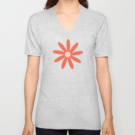Flower Time 3 Minimalist Floral in Coral and Bright Blue Unisex V-Neck