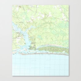 Oak Island North Carolina Map (1990) Canvas Print
