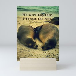 Love couple quote sea lions on the beach Mini Art Print