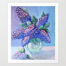 bouquet of lilac in a glass vase Art Print