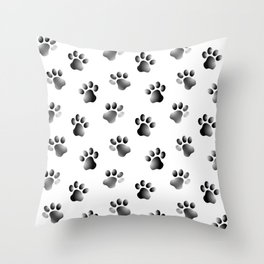 Cat Dog Animal Paw Prints Throw Pillow