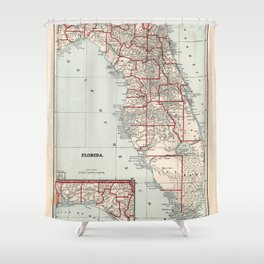 Vintage Florida Map (1893) Shower Curtain