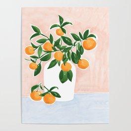 Orange Tree Branch in a Vase Poster