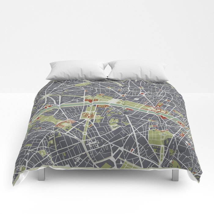 Paris city map engraving Comforters