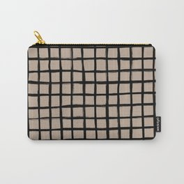 Strokes Grid - Black on Nude Carry-All Pouch