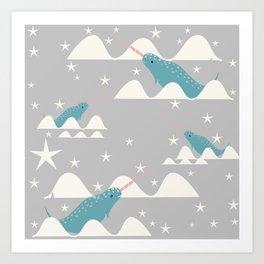 narwhal in ocean grey Art Print