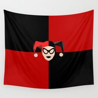harley quinn Wall Tapestries featuring Harley Quinn by Electra