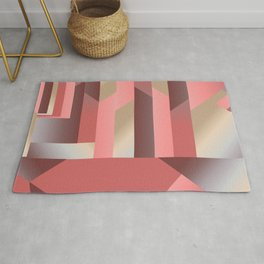 Coral Gradient - Geometric Abstract Graphic Rug