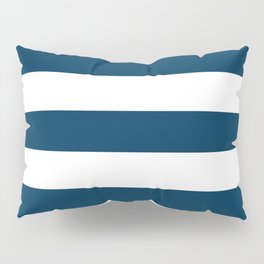 Prussian blue - solid color - white stripes pattern Pillow Sham