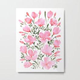 Pink watercolor California poppies Metal Print