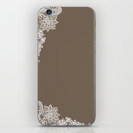 White Lace Mocha Decoration Vintage Lace Brown Retro Lace Henna Print iPhone Skin