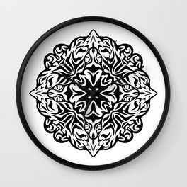 Polynesian style tattoo mandala Wall Clock
