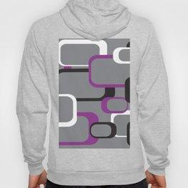 Violet Purple White Black Retro Square Pattern Gray Hoody