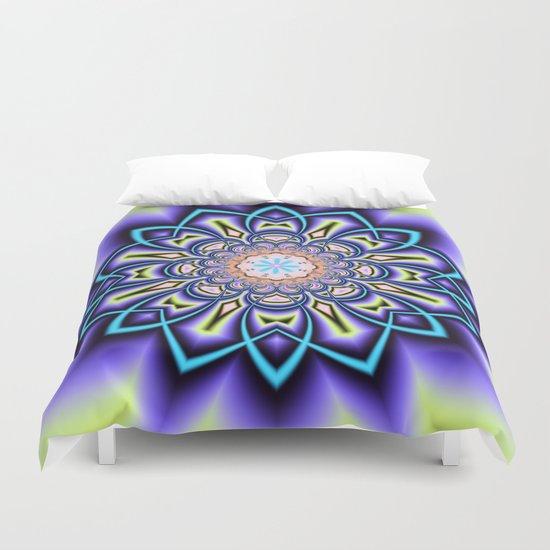 Geometric starry fantasy flower Duvet Cover