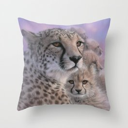Cheetah Mother and Cubs - Mothers Love Throw Pillow